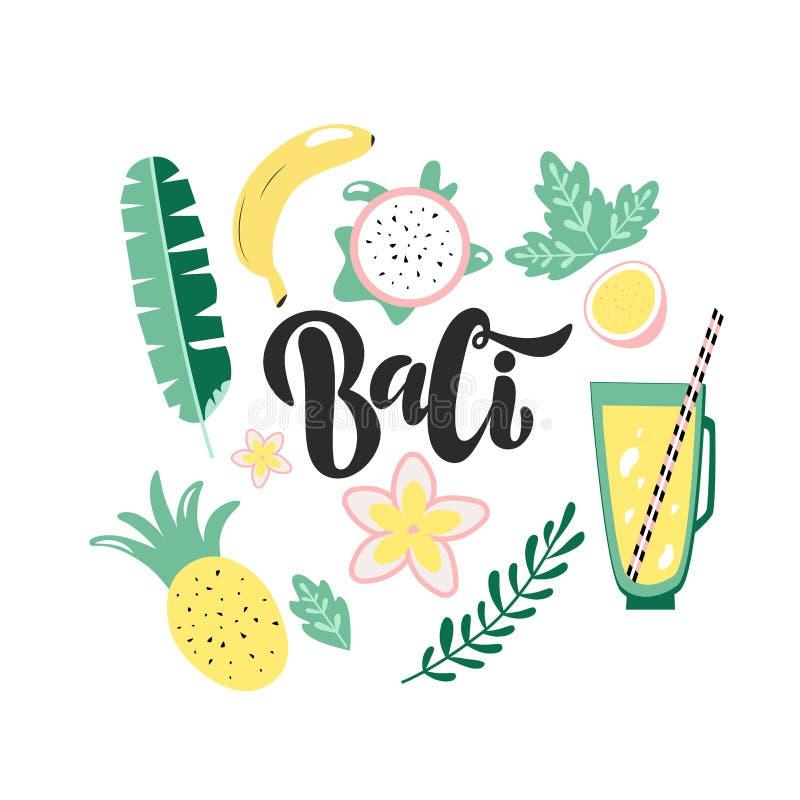 Handdran lettering logo Bali on white background vector illustration