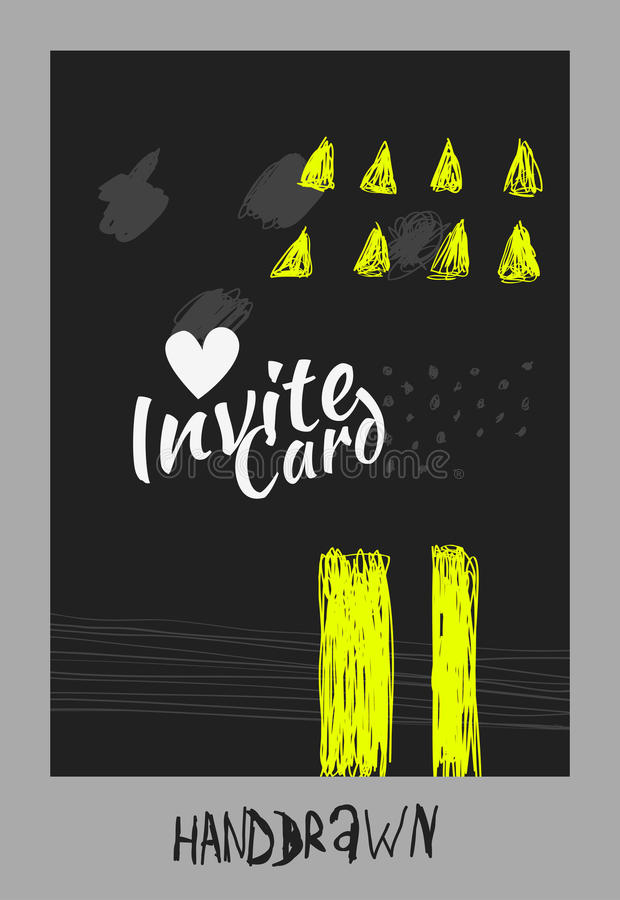 Handdraw card. Trendy invite cards. Hand Drawn design. Wedding day, anniversary, birthday, Valentin's day, party invitations, invite or save the date. Vector royalty free illustration