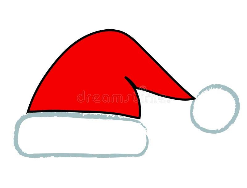Handdraw Santa czerwona kapeluszowa ikona, akcyjna wektorowa ilustracja royalty ilustracja
