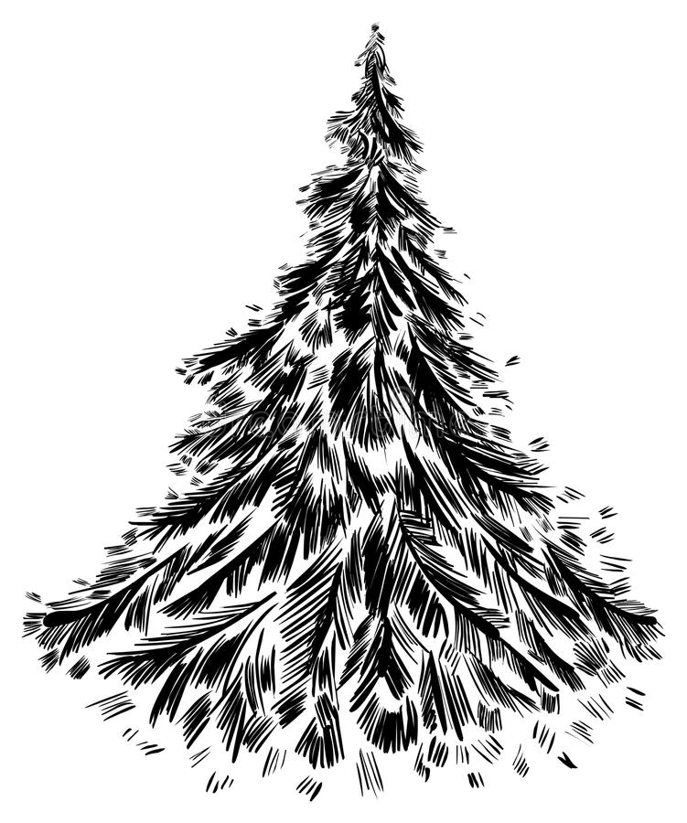 Handdrawing da árvore. ilustração stock
