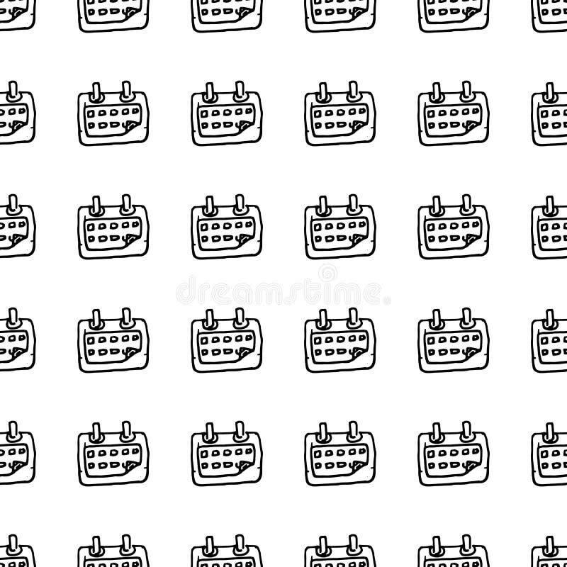 Handdrawn άνευ ραφής ημερολογιακό doodle εικονίδιο σχεδίων Συρμένο χέρι μαύρο σκίτσο σύμβολο σημαδιών Στοιχείο διακοσμήσεων Άσπρη απεικόνιση αποθεμάτων
