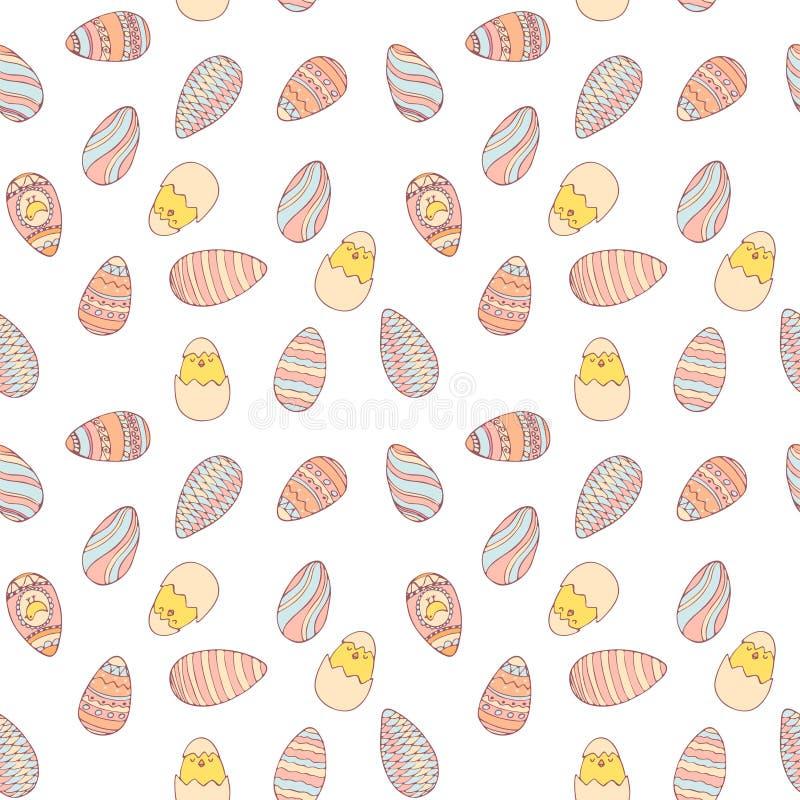 Handdrawn картина пасхи безшовная с яйцами иллюстрация штока