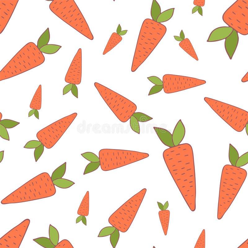Handdrawn морковь острословия картины пасхи безшовная иллюстрация штока
