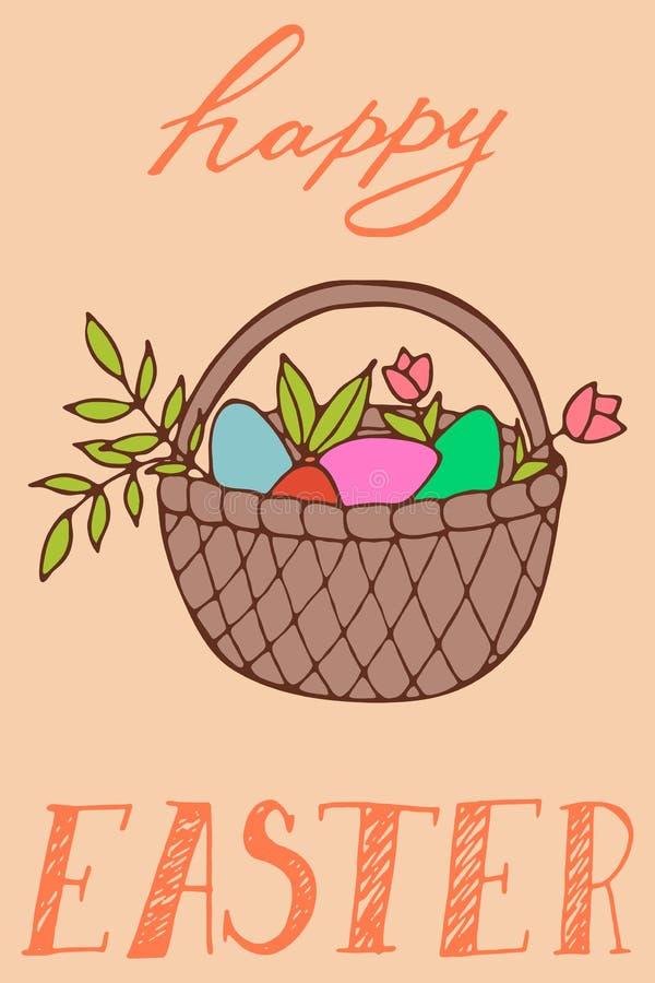 Handdrawn поздравительная открытка пасхи бесплатная иллюстрация