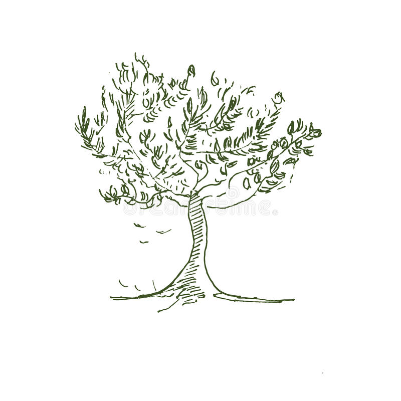 Handdrawn δέντρο στοκ εικόνα με δικαίωμα ελεύθερης χρήσης