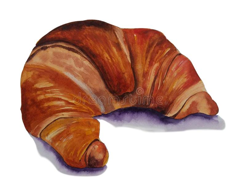 Handdrawn απεικόνιση watercolor που απομονώνεται στο άσπρο υπόβαθρο Ζωηρόχρωμος croissant απεικόνιση αποθεμάτων