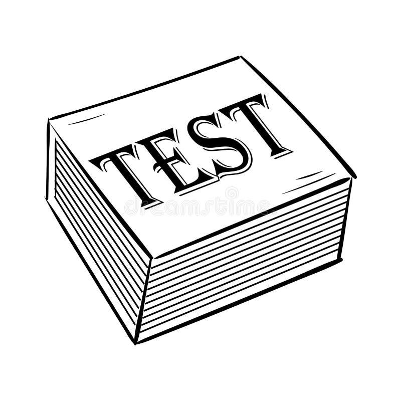 Handdrawn εικονίδιο δοκιμής βιβλίων doodle Συρμένο χέρι μαύρο σκίτσο Σύμβολο κινούμενων σχεδίων σημαδιών Στοιχείο διακοσμήσεων E  ελεύθερη απεικόνιση δικαιώματος