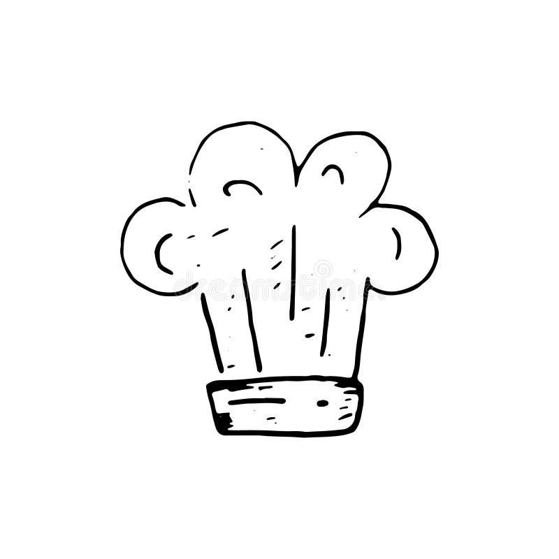 Handdrawn εικονίδιο καπέλων αρχιμαγείρων doodle Συρμένο χέρι μαύρο σκίτσο Σημάδι sy διανυσματική απεικόνιση
