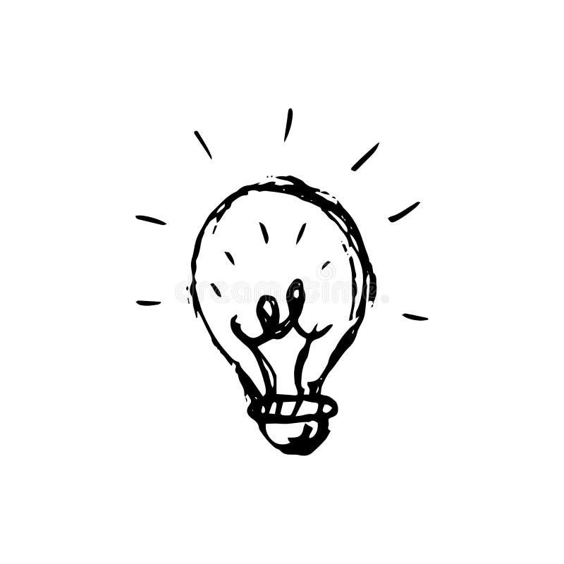 Handdrawn εικονίδιο λαμπτήρων ιδέας doodle Συρμένο χέρι μαύρο σκίτσο Σημάδι S ελεύθερη απεικόνιση δικαιώματος
