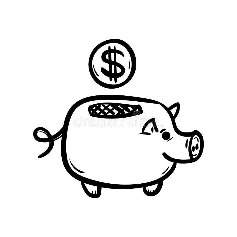 Handdrawn εικονίδιο χοίρων κιβωτίων χρημάτων doodle Συρμένο χέρι μαύρο σκίτσο Σύμβολο σημαδιών Στοιχείο διακοσμήσεων E   E διανυσματική απεικόνιση