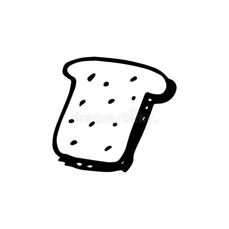 Handdrawn εικονίδιο ψωμιού doodle Συρμένο χέρι μαύρο σκίτσο Symbo σημαδιών απεικόνιση αποθεμάτων