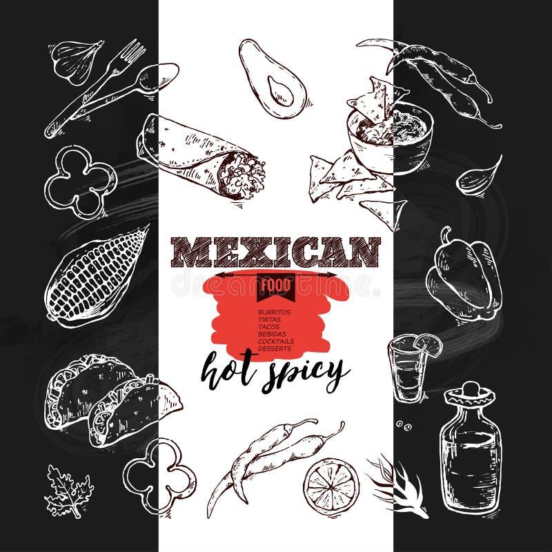Handdrawn μεξικάνικα τρόφιμα εικονιδίων ελεύθερη απεικόνιση δικαιώματος