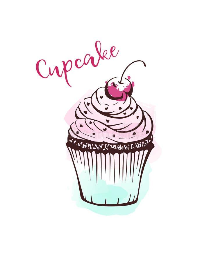 Handdrawn σκίτσο απεικόνισης cupcake διανυσματικό απεικόνιση αποθεμάτων