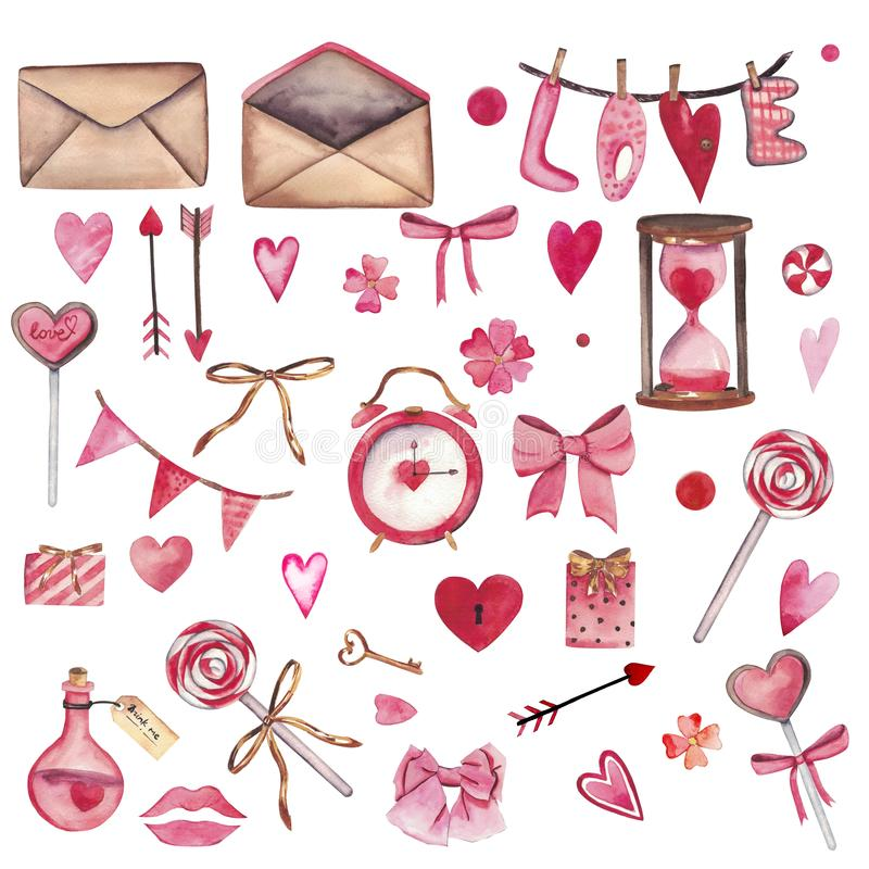 Handdrawn σύνολο watercolor στοιχείων που απομονώνονται στο άσπρο υπόβαθρο Όμορφα καρδιά-διαμορφωμένα στοιχεία: δηλητήριο αγάπης, διανυσματική απεικόνιση