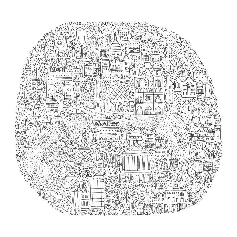 Handdrawn χάρτης του Παρισιού διανυσματική απεικόνιση