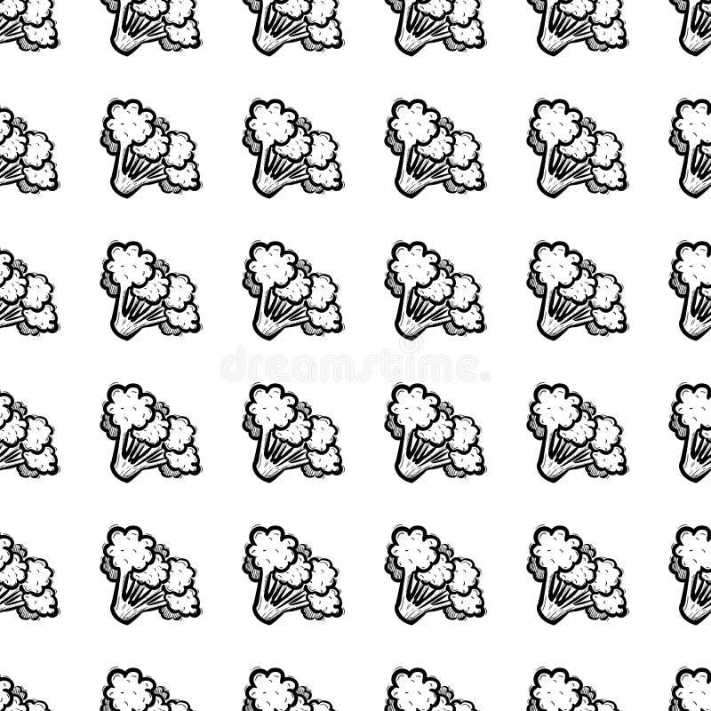 Handdrawn безшовный значок doodle брокколи картины Эскиз нарисованный рукой черный символ знака Элемент украшения Белая предпосыл иллюстрация вектора