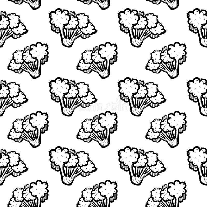 Handdrawn безшовный значок doodle брокколи картины Эскиз нарисованный рукой черный символ знака Элемент украшения Белая предпосыл иллюстрация штока