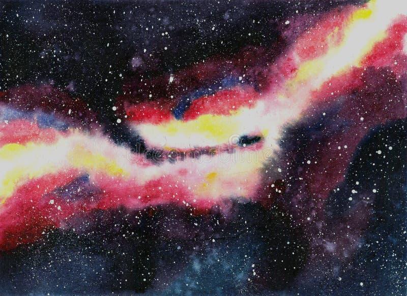 Handdrawn галактика акварели, звезды в космосе ночи Красивый млечный путь бесплатная иллюстрация