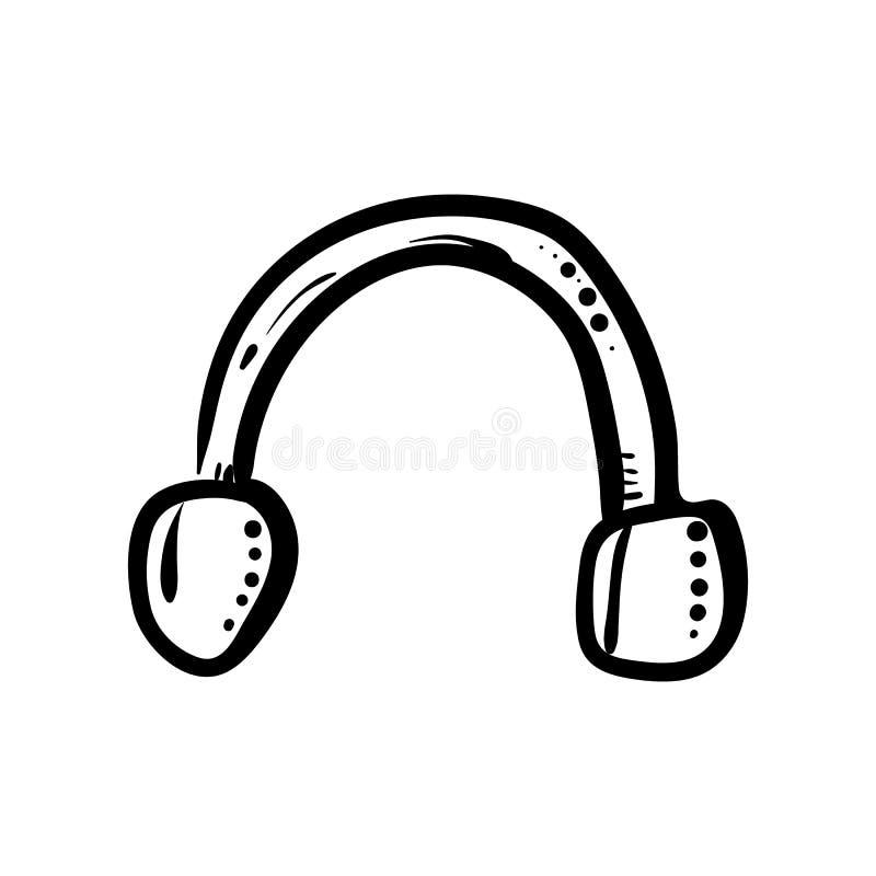 Handdrawn значок наушников doodle Эскиз нарисованный рукой черный символ знака Элемент украшения Белая предпосылка изолировано пл иллюстрация штока