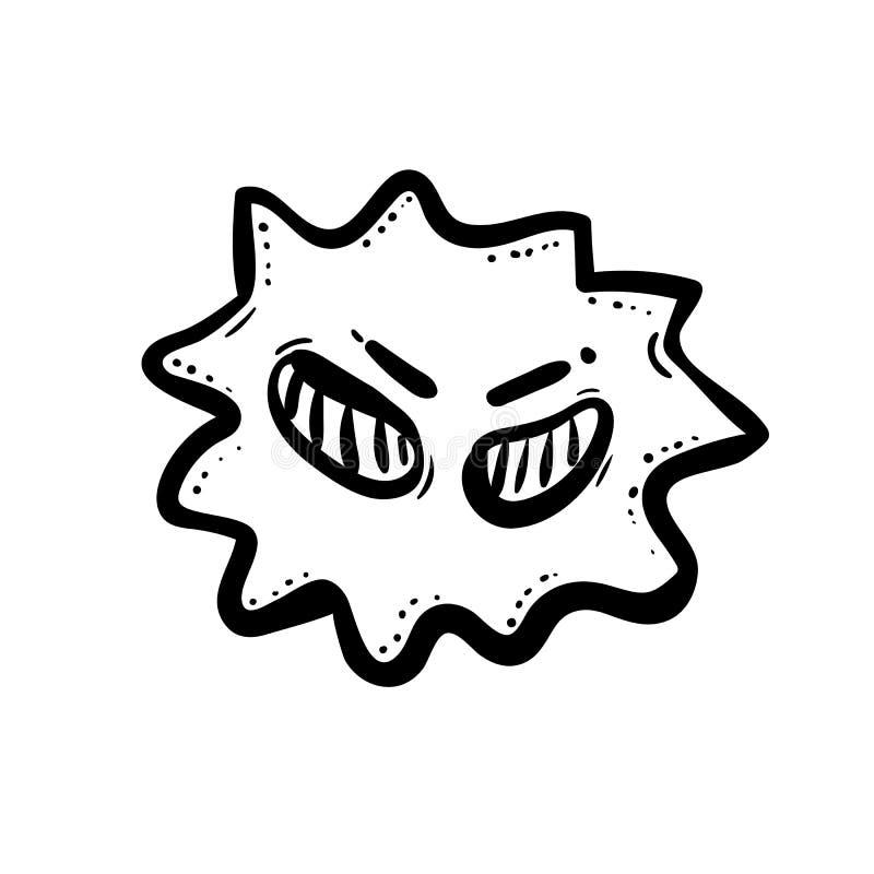 Handdrawn значок doodle бактерии Эскиз нарисованный рукой черный символ знака Элемент украшения Белая предпосылка изолировано Пло бесплатная иллюстрация