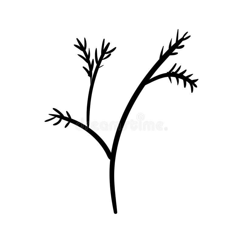 Handdrawn значок doodle ветви Эскиз нарисованный рукой черный символ знака Элемент украшения Белая предпосылка изолировано Плоски бесплатная иллюстрация