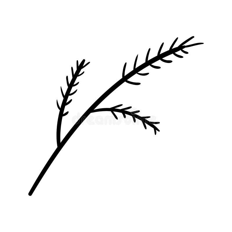 Handdrawn значок doodle ветви Эскиз нарисованный рукой черный символ знака Элемент украшения Белая предпосылка изолировано Плоски иллюстрация вектора
