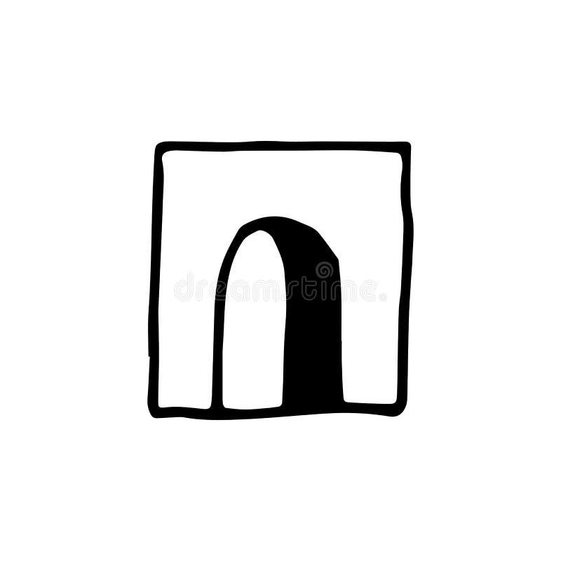 Handdrawn значок doodle входа Эскиз нарисованный рукой черный r иллюстрация вектора