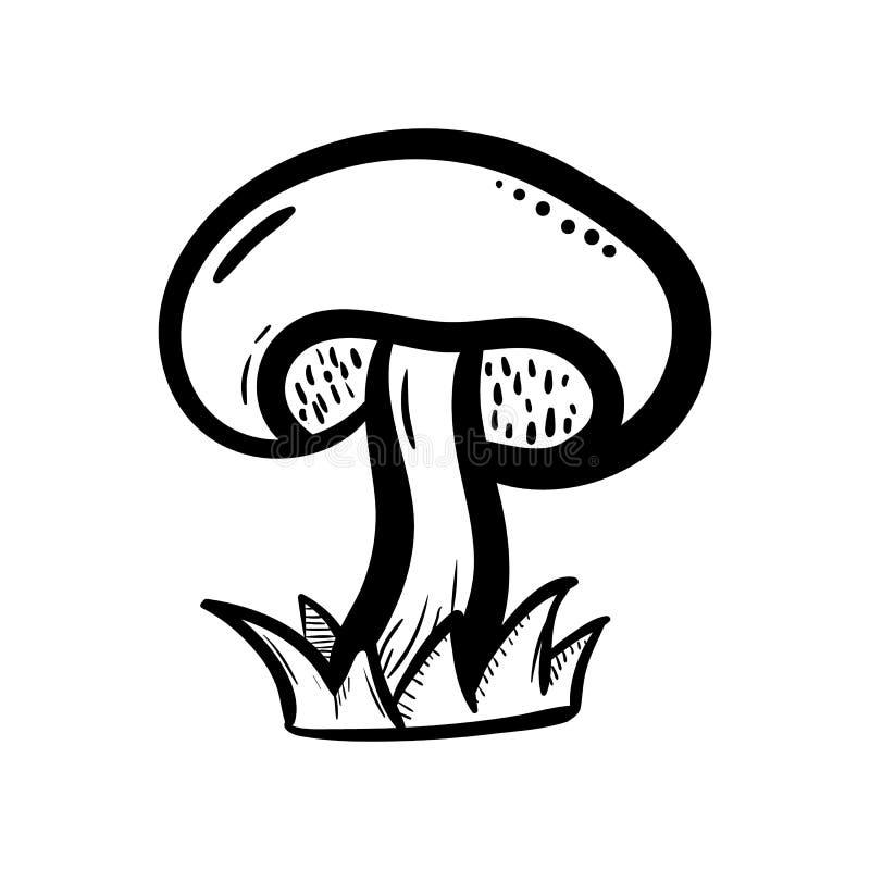 Handdrawn значок doodle гриба Эскиз нарисованный рукой черный символ знака Элемент украшения Белая предпосылка изолировано Плоски иллюстрация вектора