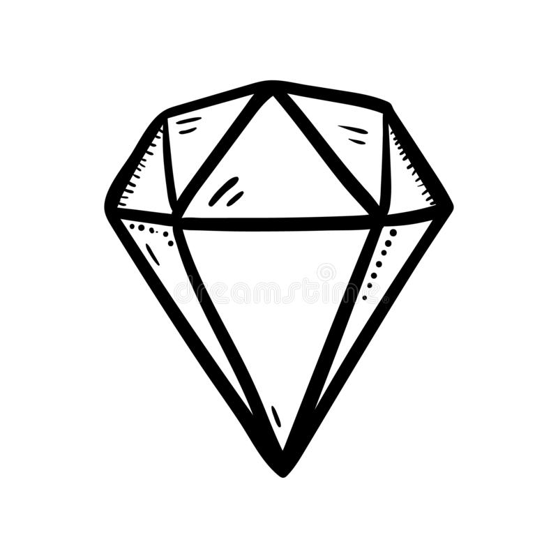 Handdrawn значок doodle диаманта Эскиз нарисованный рукой черный символ знака Элемент украшения Белая предпосылка изолировано Пло бесплатная иллюстрация