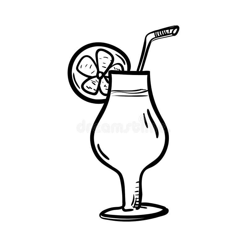 Handdrawn значок doodle коктеиля Эскиз нарисованный рукой черный символ знака Элемент украшения Белая предпосылка изолировано Пло иллюстрация вектора