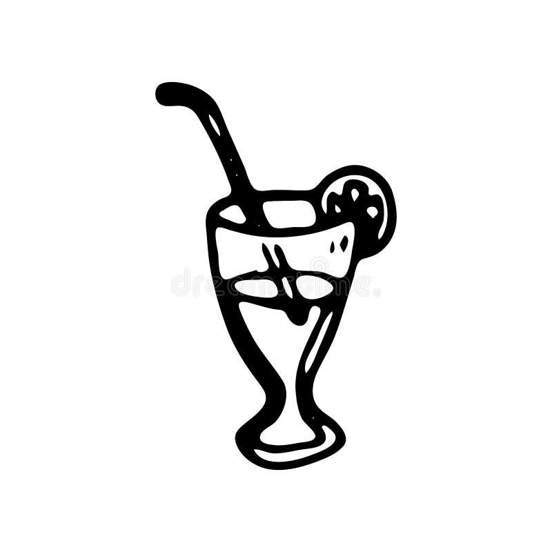 Handdrawn значок doodle коктеиля Эскиз нарисованный рукой черный символ знака Элемент украшения Белая предпосылка изолировано Пло иллюстрация штока
