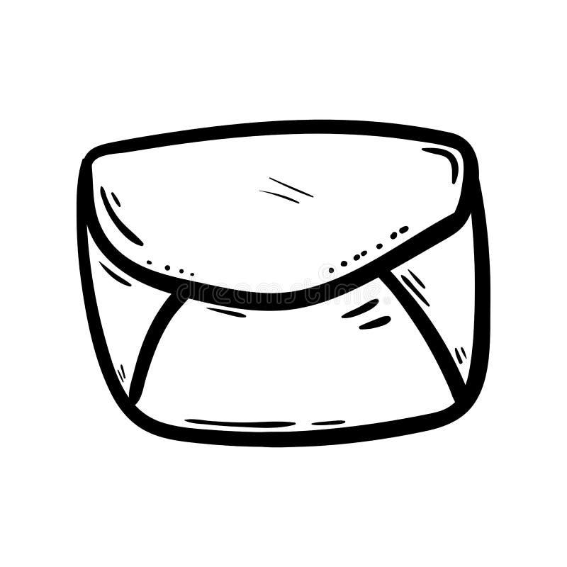 Handdrawn значок doodle конверта Эскиз нарисованный рукой черный символ знака Элемент украшения Белая предпосылка изолировано Пло иллюстрация штока