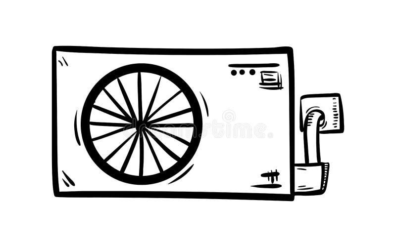 Handdrawn значок doodle кондиционера Эскиз нарисованный рукой черный символ знака Элемент украшения Белая предпосылка изолировано иллюстрация штока