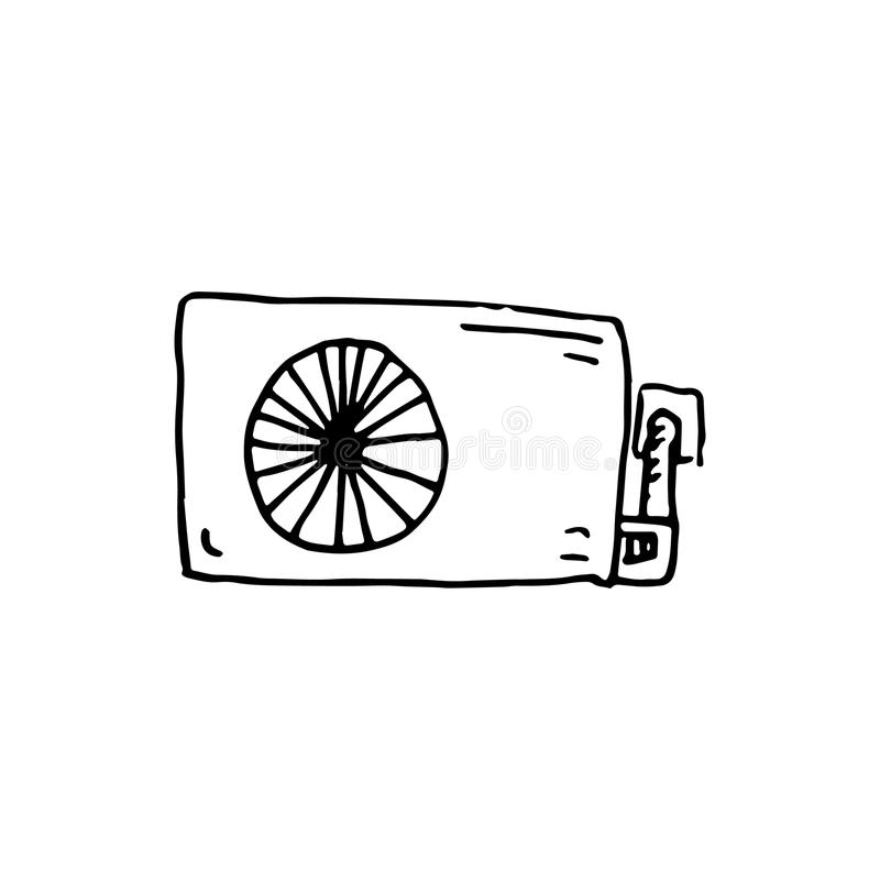 Handdrawn значок doodle кондиционера Эскиз нарисованный рукой черный бесплатная иллюстрация