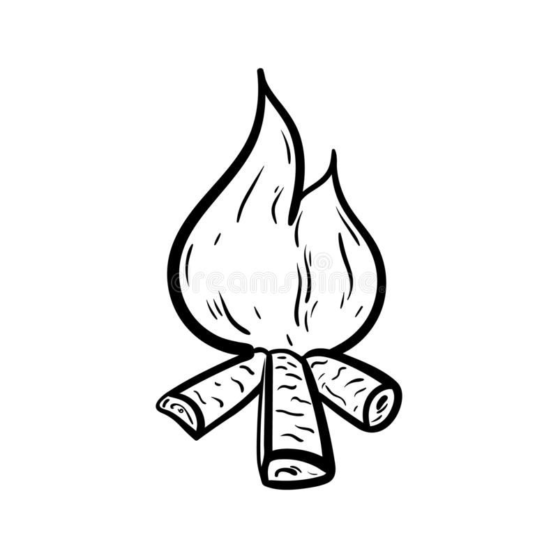 Handdrawn значок doodle костра Эскиз нарисованный рукой черный символ знака Элемент украшения Белая предпосылка изолировано Плоск иллюстрация штока