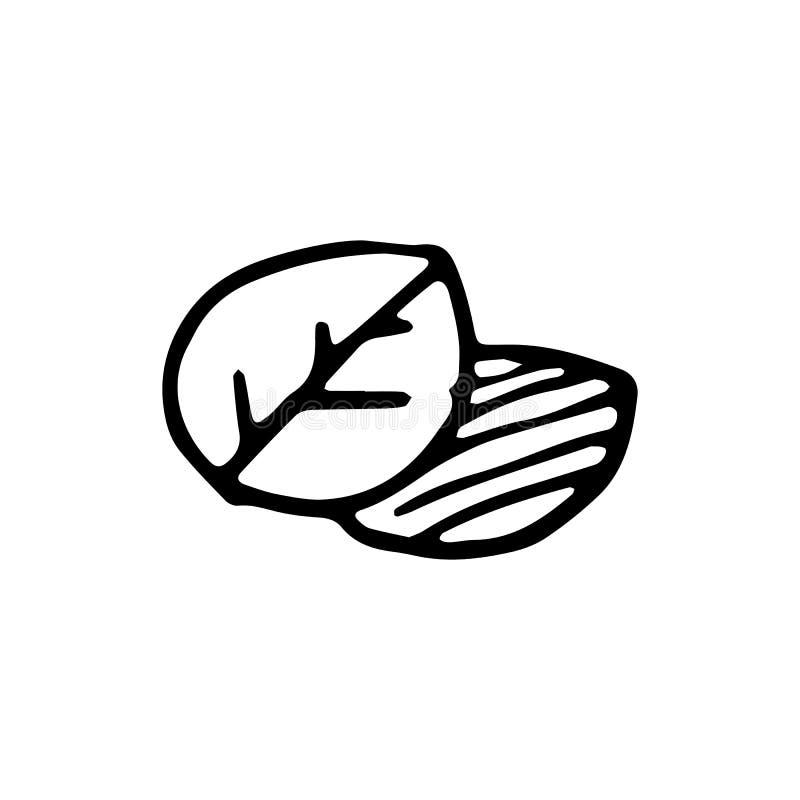 Handdrawn значок doodle лист Эскиз нарисованный рукой черный символ знака иллюстрация вектора