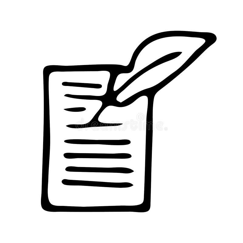 Handdrawn значок doodle переченя Эскиз нарисованный рукой черный символ знака Элемент украшения Белая предпосылка изолировано Пло иллюстрация штока