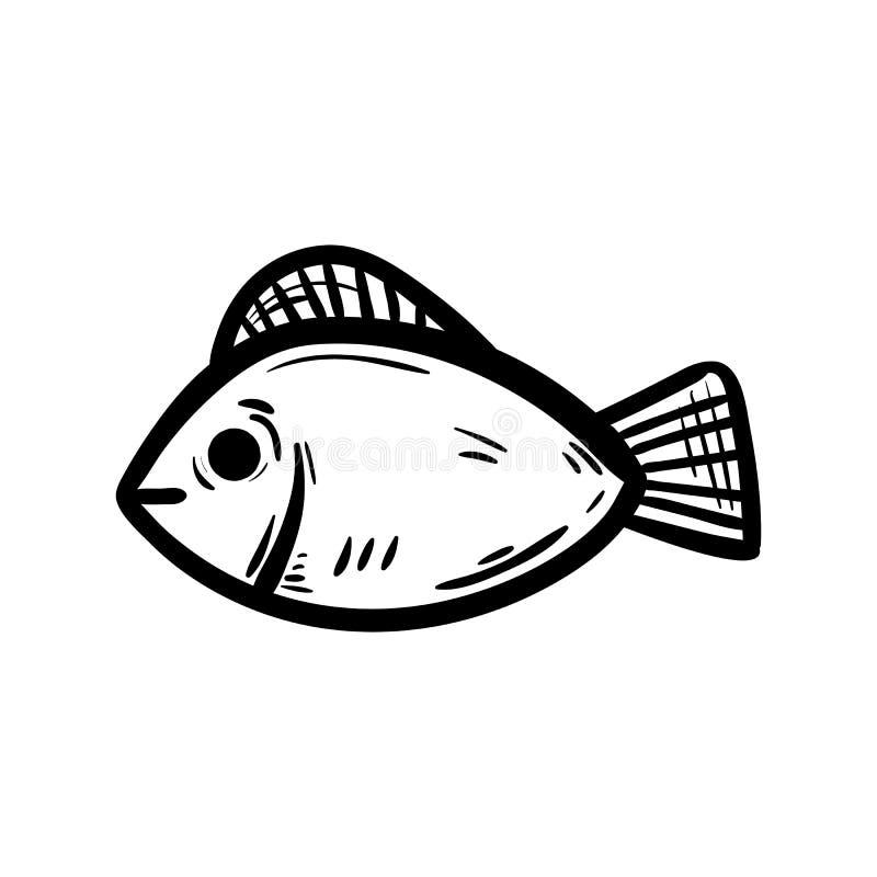 Handdrawn значок doodle рыб Эскиз нарисованный рукой черный символ знака Элемент украшения Белая предпосылка изолировано Плоский  бесплатная иллюстрация