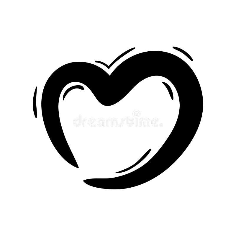 Handdrawn значок doodle сердца Эскиз нарисованный рукой черный символ знака Элемент украшения Белая предпосылка изолировано Плоск иллюстрация вектора