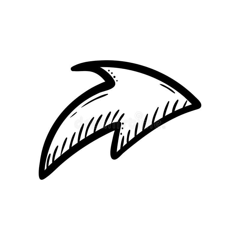 Handdrawn значок doodle стрелки Эскиз нарисованный рукой черный символ знака Элемент украшения Белая предпосылка изолировано Плос иллюстрация штока