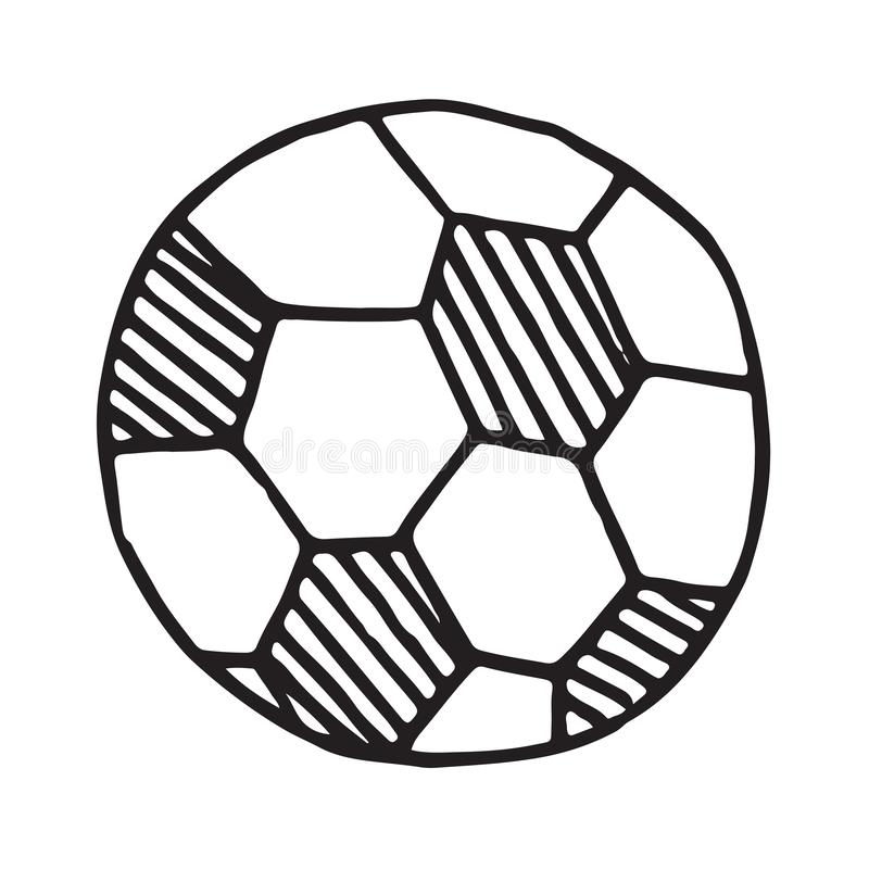 Handdrawn значок doodle шарика футбола иллюстрация штока
