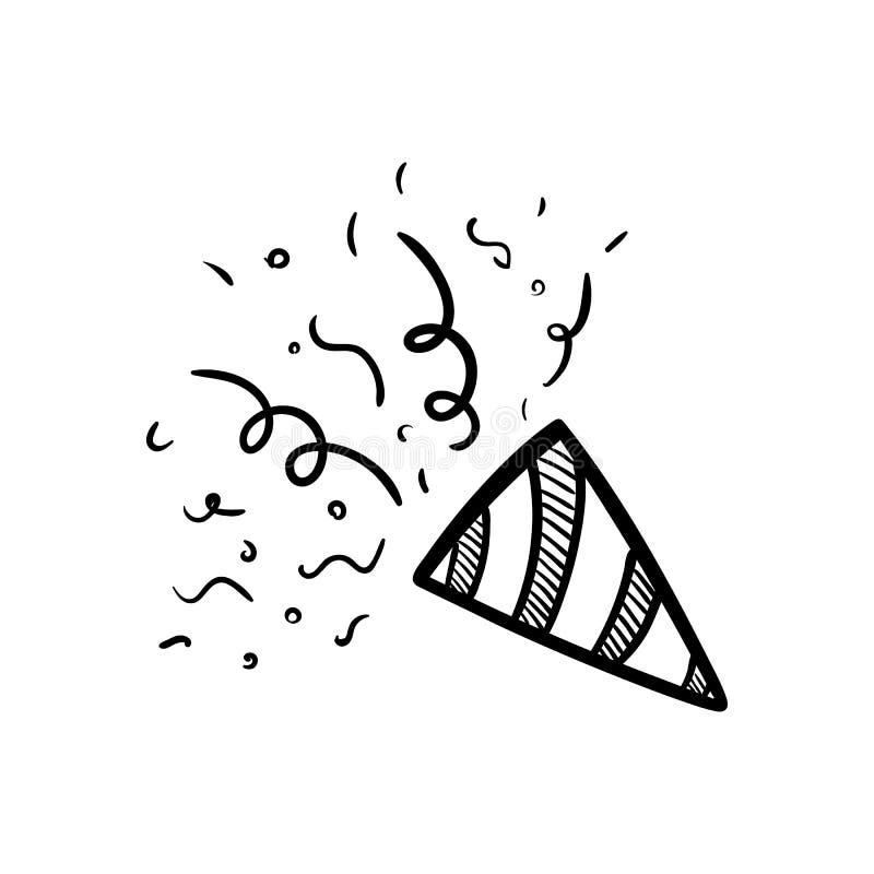 Handdrawn значок doodle petard Эскиз нарисованный рукой черный символ знака Элемент украшения Белая предпосылка изолировано Плоск иллюстрация штока