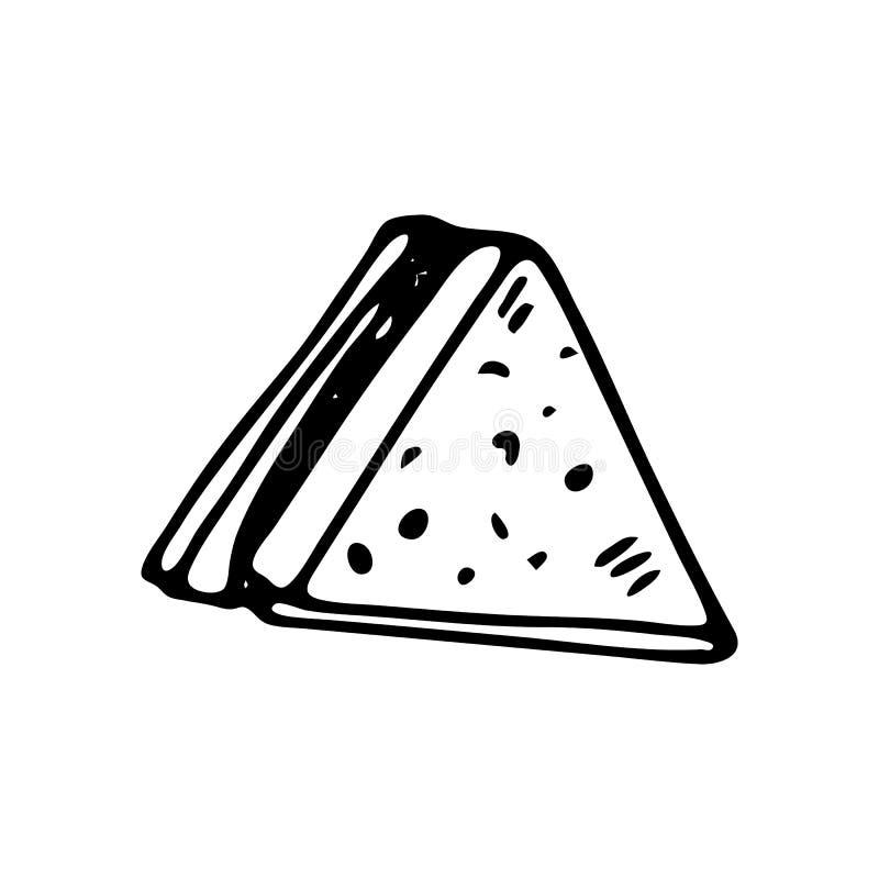 Handdrawn значок sandwichdoodle Эскиз нарисованный рукой черный символ знака Элемент украшения Белая предпосылка изолировано Плос иллюстрация вектора