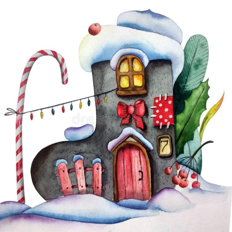 Handdrawn иллюстрация акварели изолированная на белой предпосылке Зима чувствовала дом ботинка со светами, травами и помадками иллюстрация штока