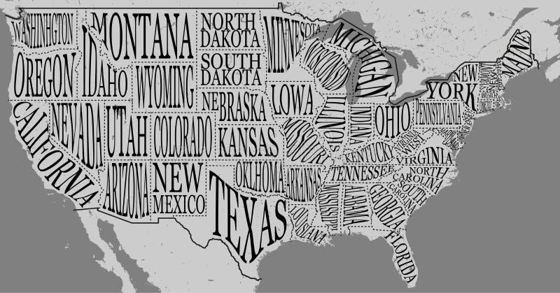 Handdrawn иллюстрация карты США с именами литерности руки положений иллюстрация вектора