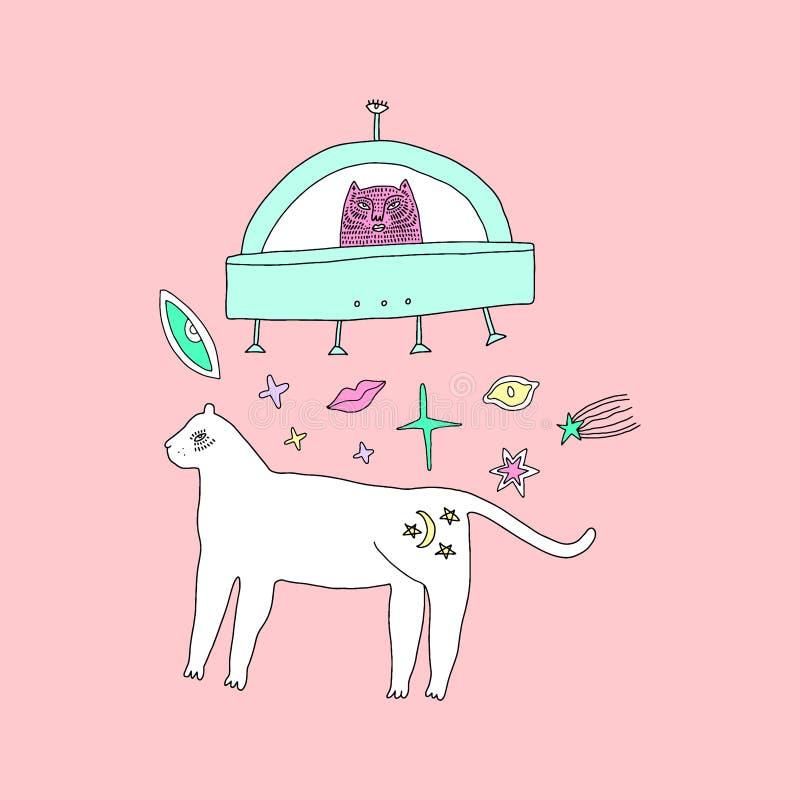 Handdrawn мистический белый кот ведьмы в космосе Стиль doodle мультфильма глупый Тема хеллоуина, языческого, колдовства и сказки бесплатная иллюстрация