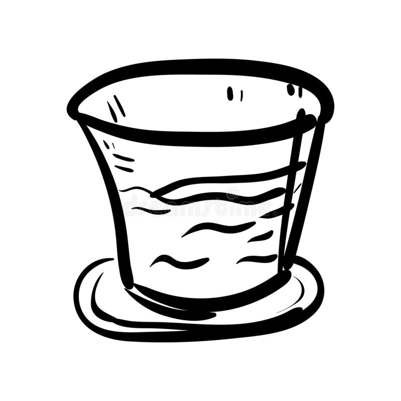Handdrawn стеклянный значок doodle Эскиз нарисованный рукой черный символ знака Элемент украшения Белая предпосылка изолировано П иллюстрация вектора