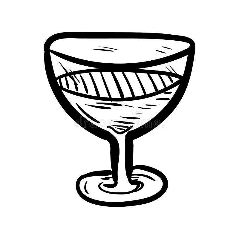Handdrawn стеклянный значок doodle Эскиз нарисованный рукой черный символ знака Элемент украшения Белая предпосылка изолировано П иллюстрация штока