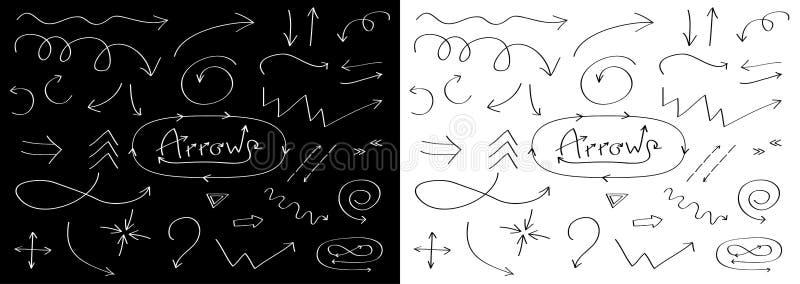 Handdrawn стрелки doodle выравнивают набор значка Нарисованный рукой черный эскиз стрелки Собрание символа знака Элемент шаблона  иллюстрация штока