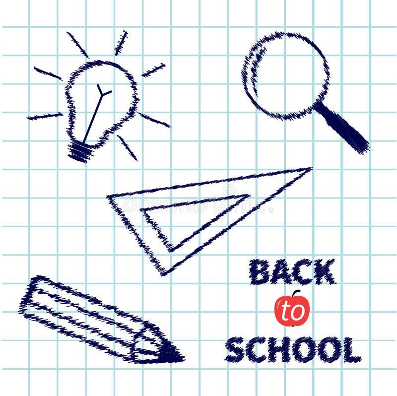 Handdrawn увеличитель doodle, карандаш, электрическая лампочка бесплатная иллюстрация